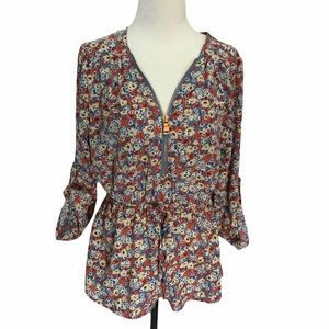 Stella Tweed Floral Top/Blouse🌸 Zippered Front M